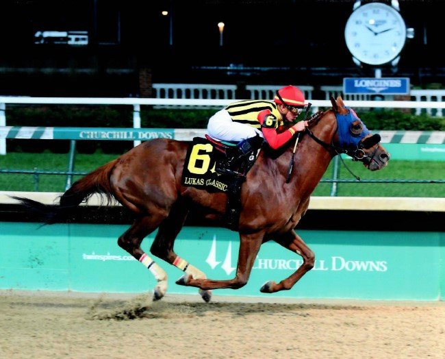 Teruya Yoshida of Shadai Farm's MIND YOUR BISCUITS, with a dominating victory in the G3 Lukas classic, Sep 29, 2018, at Churchill Downs. Courtesy Coady Photography.
