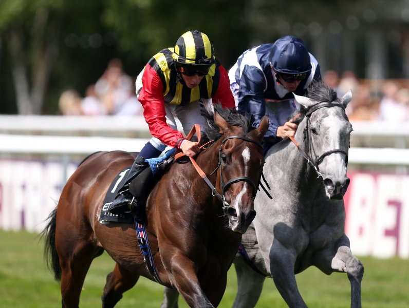 ELUSIVE KATE Winning G1 Falmouth Stakes defeating SKY LANTERN July 12th, 2013 Courtesy of PRESS ASSOCIATION