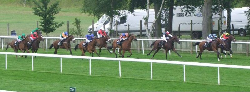 ELUSIVE KATE leading the field in the G1 Falmouth Stakes, July 13th, 2012