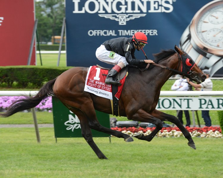 POINT OF ENTRY winning his 5th Grade 1 in the Manhattan Handicap at Belmont, June 8th, 2013 Courtesy of Coglianese Photos