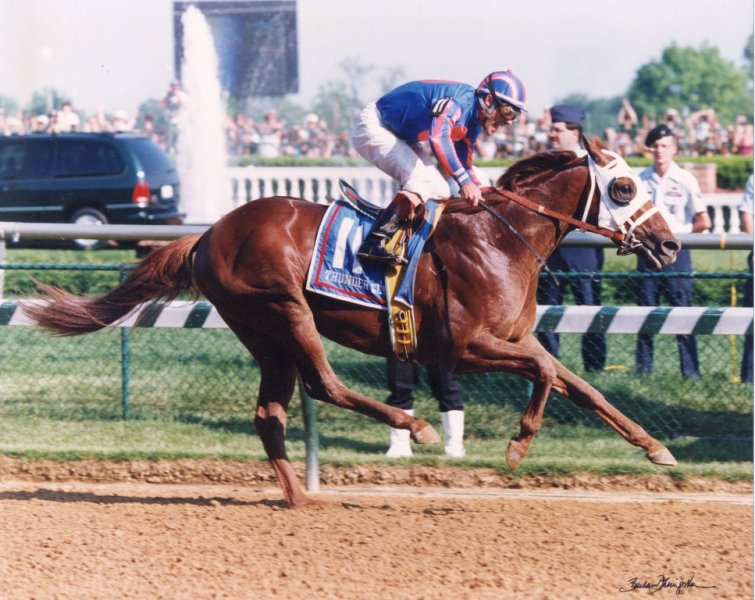 THUNDER GULCH Winning the 1995 Kentucky Derby Courtesy Barbara Livingston