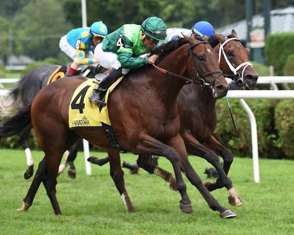 RAGING BULL Winning the G2 National Museum of Racing Hall of Fame; Saratoga, Aug 3rd, 2018. Congratulations to Owner Peter M. Brant. Courtesy Bob Coglianese.